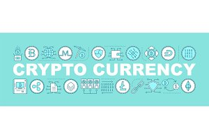 Cryptocurrency word concepts banner