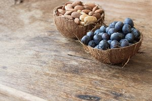 blueberries and almonds in the shell