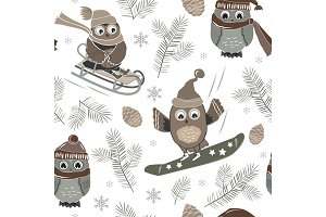 Vector seamless pattern with cute