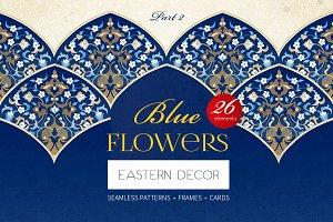2.Kit Of Eastern Decor. Blue Flowers