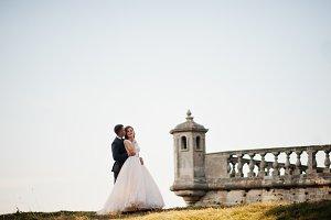 Very romantic wedding couple standin