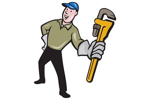 Plumber Presenting Monkey Wrench Iso