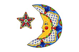 Mexican ornamental moon and star.