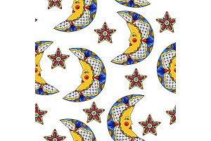 Mexican pattern with moons and stars