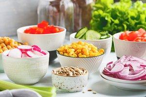 Assortment ingredients for salad