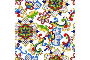 Mexican seamless pattern flowers.