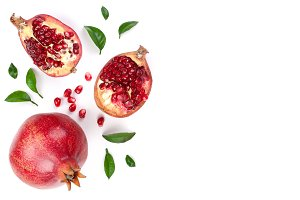pomegranate with leaves isolated on
