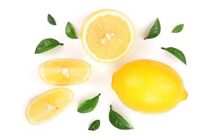 lemon and slices with leaf isolated