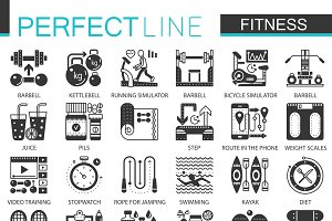 Sport Fitness black concept icons