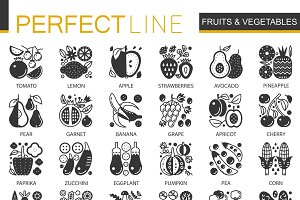 Fruits vegetables concept icons