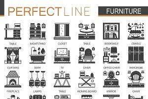Furniture interior concept icons