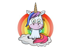 Cartoon Illustration Of Unicorn