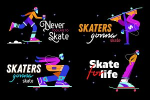 Neon skaters set