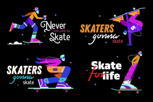 Illustrations and Illustration Products - Neon skaters set