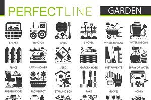 Gardening flower black concept icons