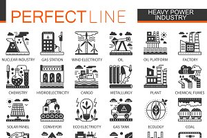 Heavy power industry concept icons