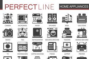 Home appliances black concept icons