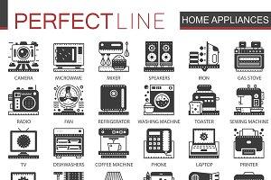 Home appliances black concept icons