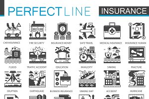 Insurance black concept icons