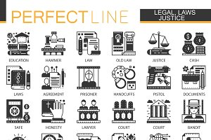 Legal law justice concept icons