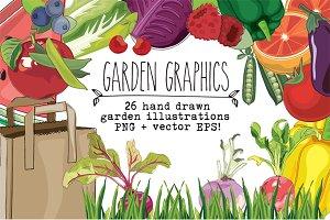 Hand Drawn Clip Art - Garden
