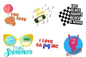 6 Text Stickers Illustration
