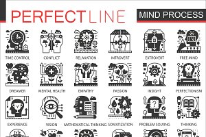 Brain mind process concept icons