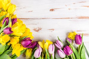 Beautiful Bunch of Tulips and yellow