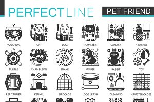 Pets friends black concept icons