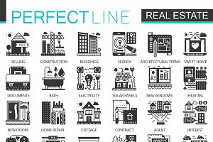 Real estate black concept icons