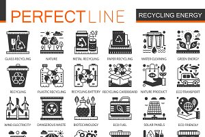 Recycling green energy concept icons