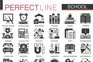 School education black concept icons