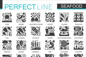 Seafood black concept icons