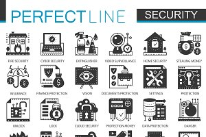 Security safety black concept icons