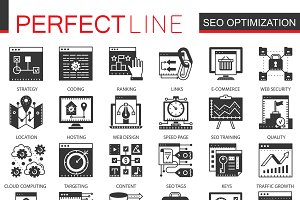 Seo optimization black concept icons