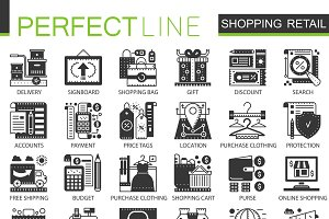 Shopping retail black concept icons