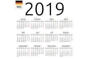 Calendar 2019, German, Monday