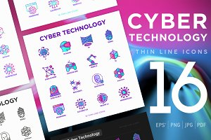 Cyber Technology | 16 Thin Line Icon