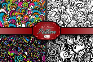 4 Zentangle inspired pattern set.