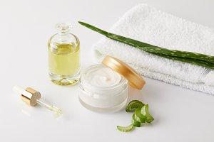 organic cream and perfume, pipette,