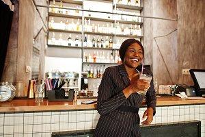 African american businesswoman drink