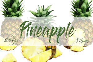 Pineapple Watercolor Clip Art