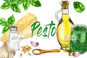 Pesto Watercolor Clip Art