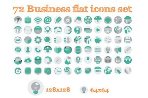 72 Flat Business Icons
