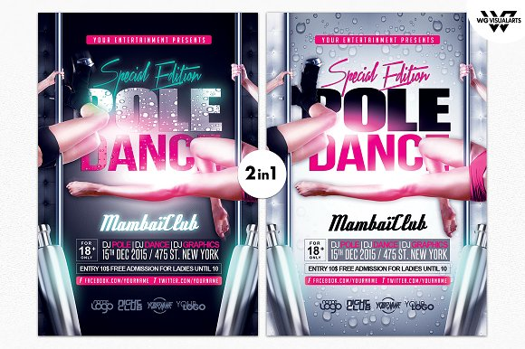 pole dance flyer template flyer templates creative market