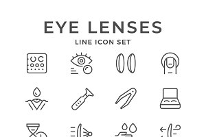 Set line icons of contact lenses
