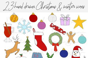 Christmas hand drawn clipart icons