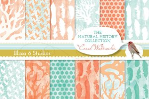 Coral Watercolor Digital Papers
