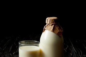 fresh milk in glass, milk bottle wra