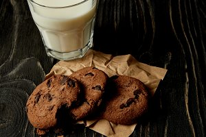 closeup view of chocolate cookies on